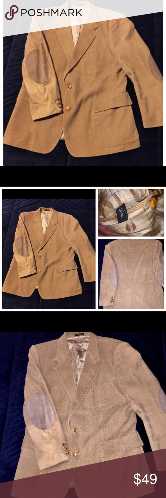 Vintage Tan Men's Corduroy Jacket w/ Suede sz 42 R Vintage Tan Men's Corduroy Blazer Jacket with Suede Elbow Patch Made in Romania sz 42 R  Measurements are as follow- Chest - 48 inches  Waist - 42 inches  Shoulder - 19 inches  Sleeve- 24 inches   Thanks for looking!  121916-4 Suits & Blazers Sport Coats & Blazers