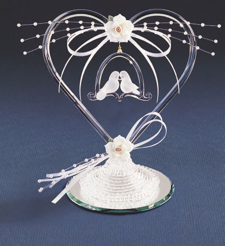 Glass Baron ~ Heart w/ Doves & Pearls ~ Wedding Cake Topper ~ P7 496