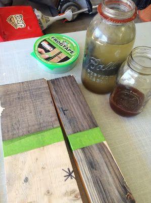 Natural tea steel wool and vinegar stain DIY dinning Table