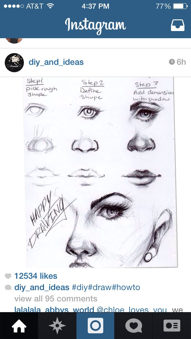 how to draw a nose eye and mouth