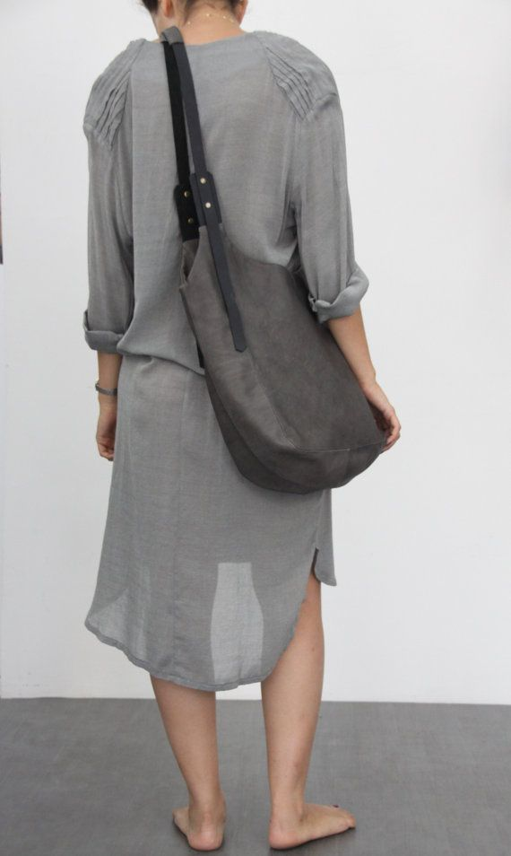 Dark grey leather bag Soft leather bag Maxi Bag by LadyBirdesign