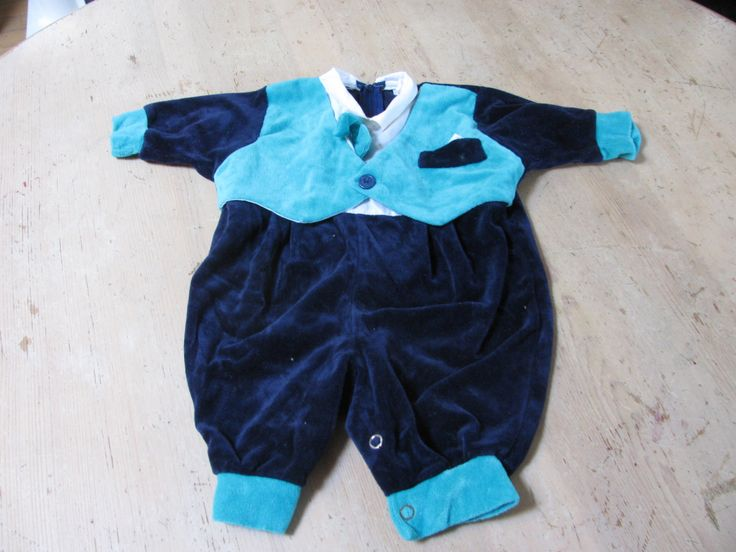 Vintage Charming Original Baby tuxedo made out of soft velvet fabric.  Comfortable. by EastsideVintageFlea on Etsy
