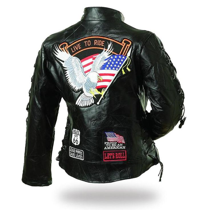 Ladies Diamond Plate Rock Design Route 66 Genuine Buffalo Leather Motorcycle Jacket