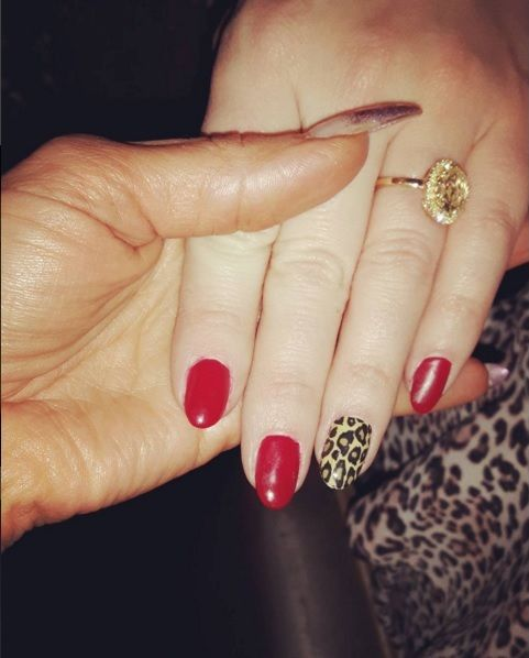 Kimberley Walsh Wearing Artistic Colour Gloss' Hotzy available at Louella Belle #KimberleyWalsh #Celebrity #Manicure #Nails #ArtisticColourGloss #RedNails #LeopardNails #LouellaBelle