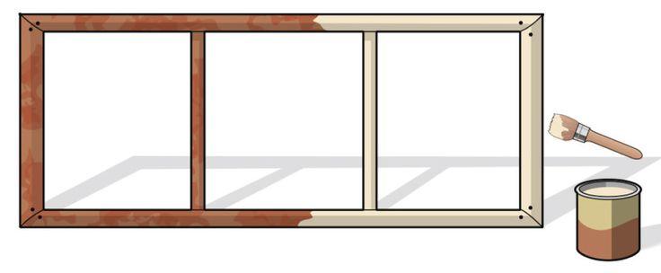 1. Se si ha a disposizione il vecchio telaio di una porta in legno, di una persiana o di una finestra, lo si può sverniciare, carteggiare e dipingere prima con un impregnante, e quando questo sia asciugato, con una vernice colorata o un mordente per legno.