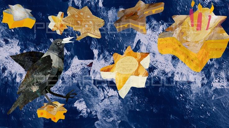 Puk ochutnává hvězdy Grafika 2D- monotypie + koláž z olejové malby Dekorační obrázek tištěný na papíře 220g/m2 FORMAT 22x40 cm