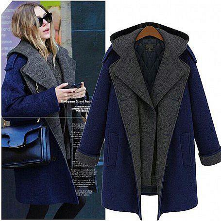 Стильное пальто темно-синего цвета сделает девушку увлекательной на улице.