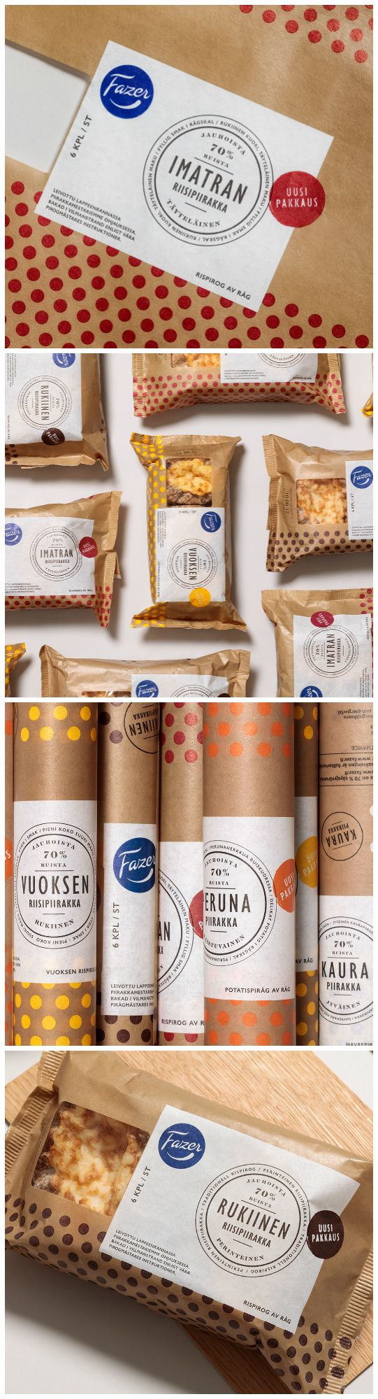 Branded Packaging Highlighting Finnish Artisan through Polka Dot Pattern Designed by: Kuudes Helsinki⠀ Project: Fazer Pastries⠀ ⠀ Category: #food #bakery ⠀