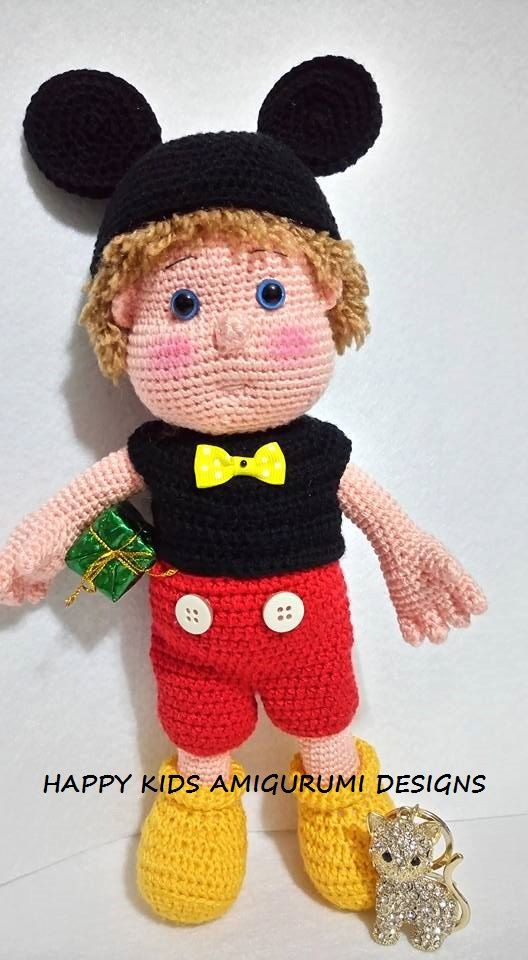 The Boy With Mickey Mouse Costume -Amigurumi Crochet Pattern -PDF