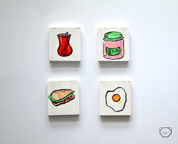 Breakfast magnets  Wooden magnets  Fridge Magnets  by KubuHandmade