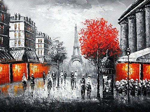 Pairs Street Oil Painting on Canvas100 HandpaintingVintage Painting Eiffel Tower Red Tree Orange Light Home Decor Painting Art 36x48inch -- See this great product for home decor.