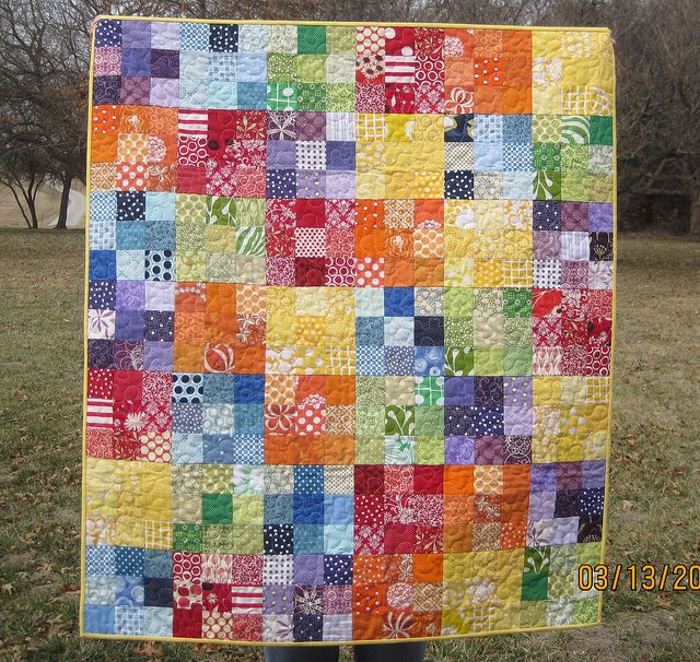 Colorful 9-Patch Baby Quilt by The Spotted Elephant Boutique, via Flickr