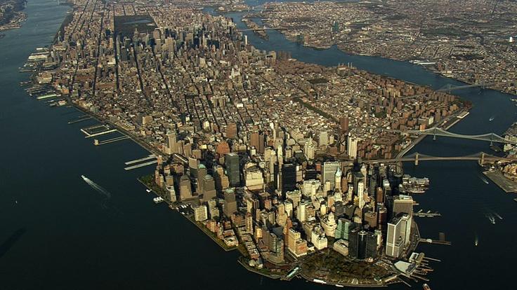 New York, New York. Aerial photograph of Manhattan.