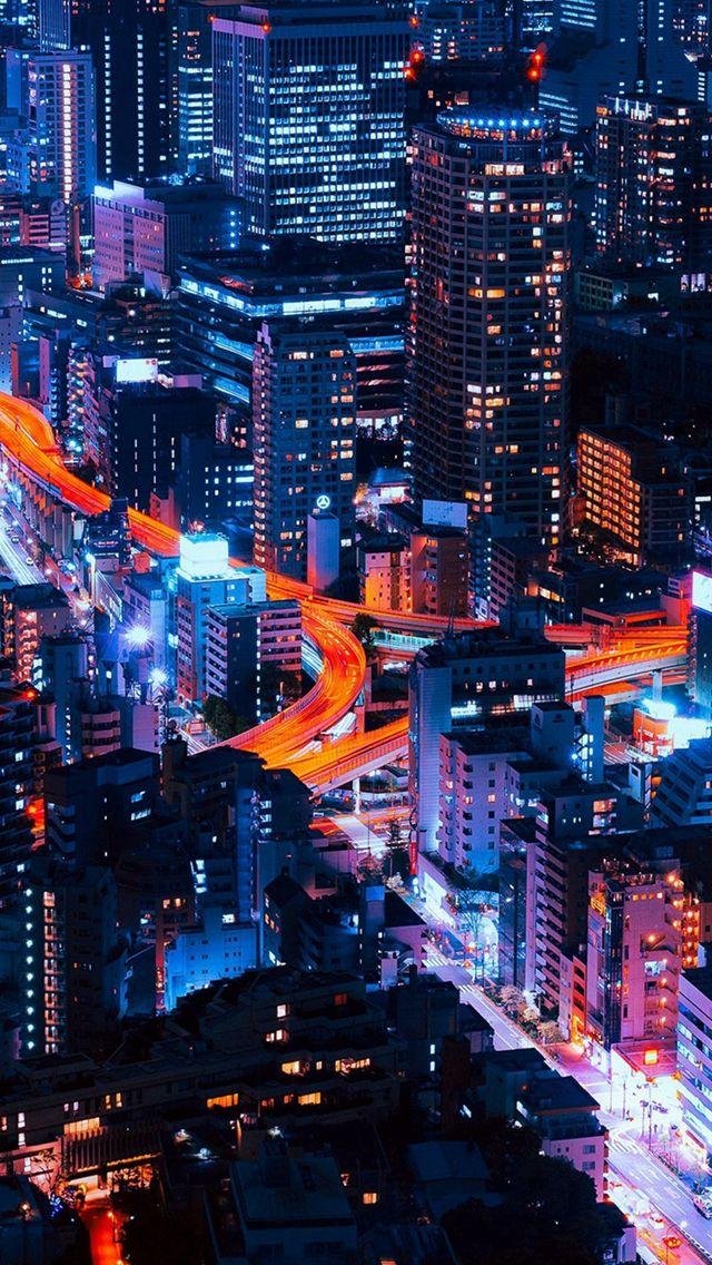 Pastel City Blue Red Night Nature iPhone 5s wallpaper