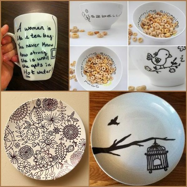 Use a Sharpie pen, draw a design of your choice on the mug or plate. Place in the oven at 180 C/350 F for 30 minutes. Leave to cool completely before washing or using. Effect is permanent and safe.