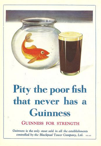 """""""Pity the poor fish that never has a Guinness"""" advert in the Blackpool Tower guide book, c1938 by mikeyashworth, via Flickr"""