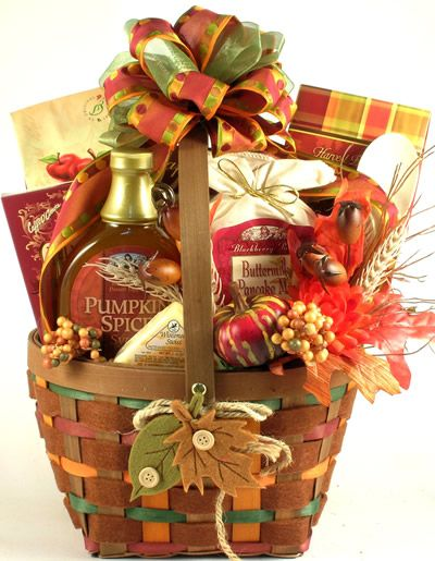 Our Falling  Leaves  Autumn BreakfastGift  Basket  has it all: style in abundance...it's as pretty as they come withthe most delectable gourmet goodies; size and selection...lots of large quantity items; quality...it features the finest in quality American-made gourmet gifts This unique gift basket has so much to offer and   everybody loves a fall breakfast gift basket. $99.99 http://www.littlegiftbasketboutique.com/item_882/Falling-Leaves-Autumn-Breakfast-Gift-Basket.htm