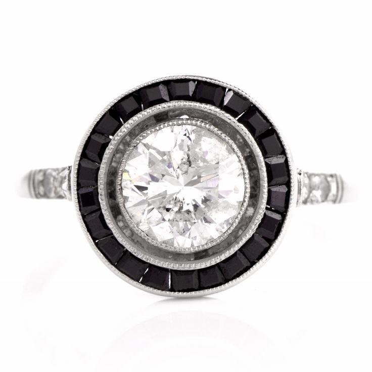 Art Deco Diamond Onyx Engagement Ring Item # PLDEC16-11