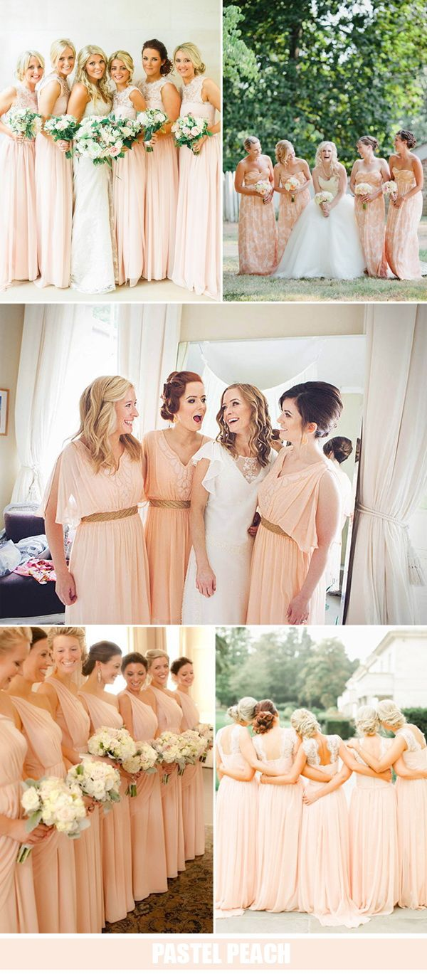 pastel peach bridesmaid dresses trends wedding ideas 2016
