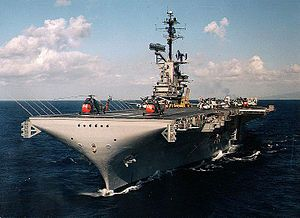 USS Yorktown at sea off of Hawaii, early 1960s
