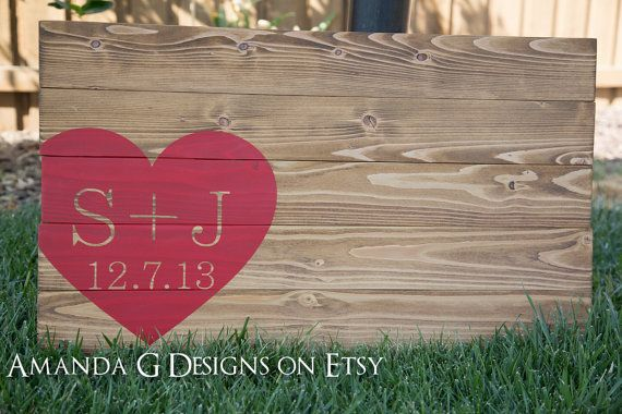 Guest Book Idea - Personalized Wedding Guest Book with Wrap-Around Heart (Initials), Guest Book Sign, Wedding sign in board, Guest board Amanda G Designs on Etsy