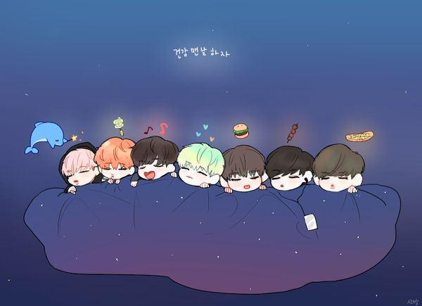 This is the cutest fan art I've ever seen! ❤❤❤ BTS | Suga | V | Rap Monster | Jungkook | Jin | Jimin | J-Hope | Bangtan Boys | ❤❤❤