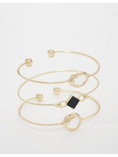 River Island Delicate Cuff Bracelet Multipack - Gold http://sellektor.com/all?q=river+island