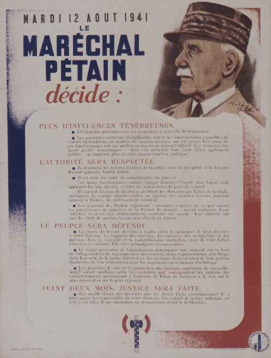 affiche propagande Vichy 2nd guerre mondiale
