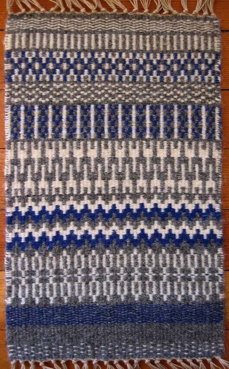 A sample of Krokbragd weaving for the Guild of Canadian Weavers Tests. Krokbragd is woven on a three shaft point twill threading. I used 12/3 Irish Linen for the warp sett at 5 doubled EPI, t…