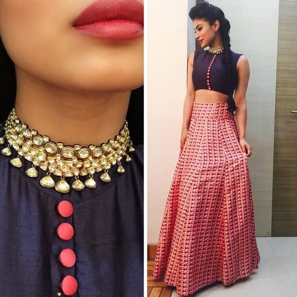 Our dearest Mouni Roy looking absolutely stunning at I Pride Gallentry awards wearing a gorgeous choker by NLJ.... No one pulls it off better than her ....