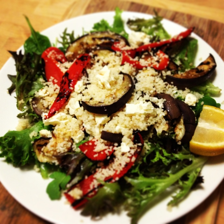 Still feel like crap but @brisbanerob is taking care of me - @Michelle Bridges Char-grilled Eggplant, Capsicum & Couscous salad!