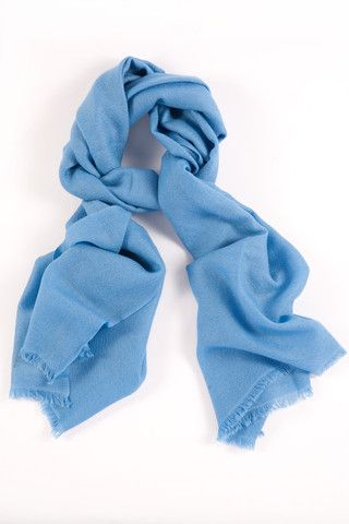 Skylight Blue 100% Cashmere Shawl:  This delicately fine cashmere weave emotes a classic, tranquil beauty. A contemporary look designed for everyday wear.  Features include:      100% Cashmere      Handwoven with French cut ends      Size - 75 x 195 cm      Weight - 175g  Karma Cashmere shawls are authenticated with a Chyangra Pashmina logo. This hallmark guarantees that the highest quality and most genuine cashmere is used in our product manufacturing.