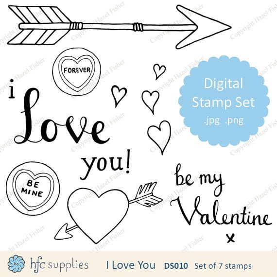 I Love You Valentine set of Digital Stamps,  line drawings, hearts, arrows and hand drawn messages by hfcSupplies on Etsy. Use in card making projects, Valentine's Day digi stamps.