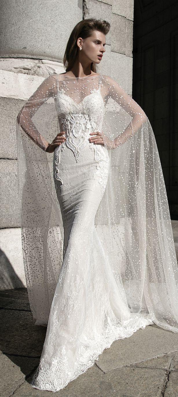 wedding attire wedding dress cape Berta Bridal Spring Collection