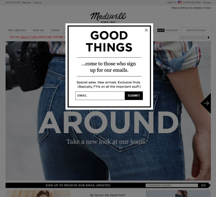 Madewell (Newsletter Signup Pop-up Example) - The Best of Email super simple design