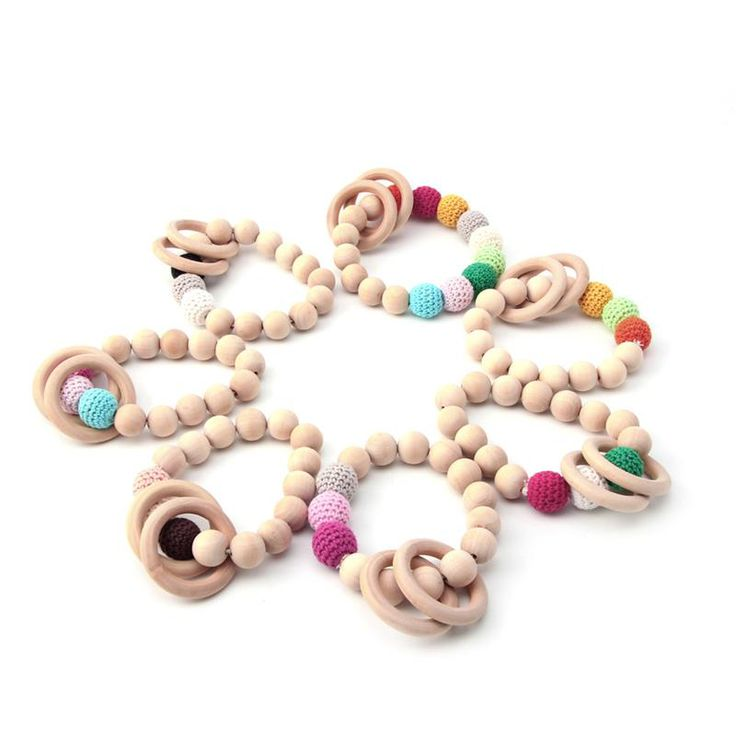 1PC Natural Round Wood Teether Bracelet