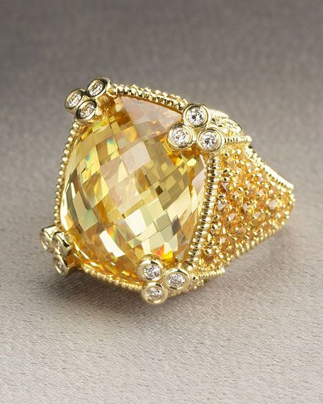 Judith Ripka - it is most likely yellow diamonds, but I am going to pretend it's a citrine ring.