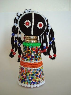 ndebele dolls for africa unit/ made from covering a waterbottle with fabric, beads, etc.