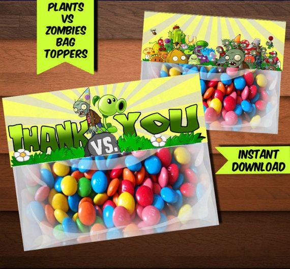Plants VS Zombies Bag Toppers-Printables Zombies Bag
