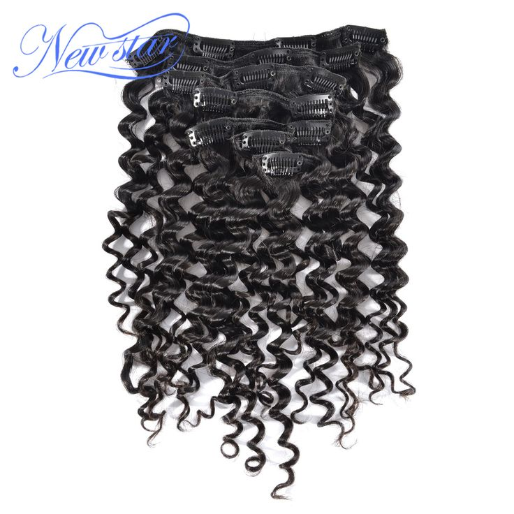 New Star Hair Clip In Human Hair Extensions 7Pcs/Set Natural Color 120G Brazilian Deep Wave Virgin Hair Free Shipping