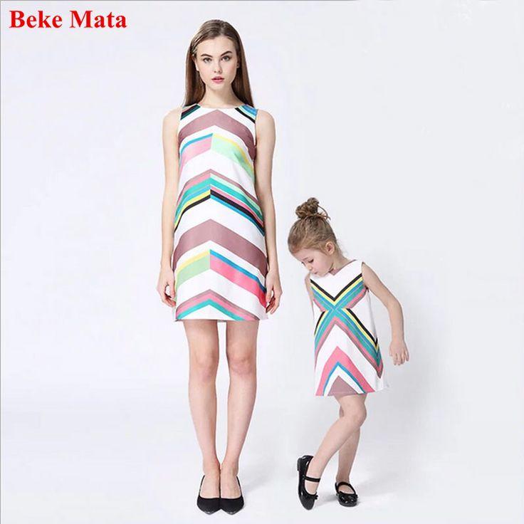 Beke Mata Mother Daughter Dresses 2017 Summer Sleeveless Mother And Daughter Clothes Summer Elegant Family Matching Clothing #Affiliate