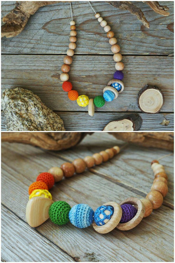 Rainbow wooden beads. Nursing necklace. Crochet jewerly. Слингобусы, кормительные бусы, радужные эко-бусы.