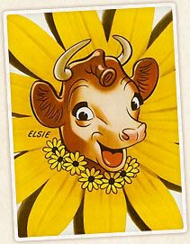 Elsie, the Borden's cow...My Granny use to live a few blocks away from the Borden Company.  Every time we visited, we would stop and get a banana split.  I can still taste how good the whipped cream was.