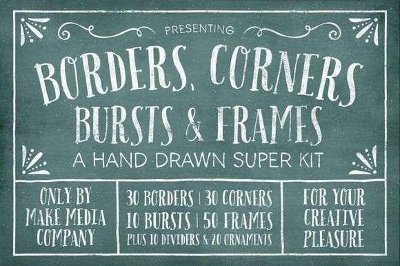 Borders, Corners & Frames Super Kit by MakeMediaCo. on Creative Market