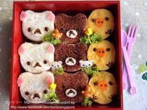 Rilakkuma and Friends Sandwich Character Obento  今日の昼ごはんです。リラックマたちのサンドイッチを作りました。 材料:食パン、ココア、ハム、海苔、薄焼き卵シート、チョコレート、レタス、お弁当ピック、サンドイッチの具。 楽しかったです~~♪ Decided not to have rice today for lunch (plus I have yet to visit the grocery store to stock up on fresh produce), so I decided to make a sandwich bento lunch.  Introducing to you, Rilakkuma and Friends Sandwich Character Obento! ~♪ The ingredients used were: Continue Reading