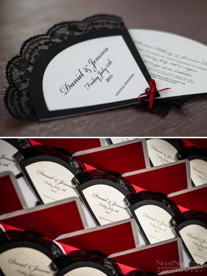 how to make film canister wedding invitations%0A Fan wedding invitation with lace and matching envelope