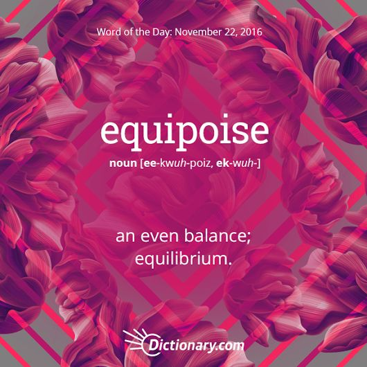 """equipoise: (e·qui·poise ˈekwəˌpoiz) noun 1. balance of forces or interests. """"this temporary equipoise of power"""" verb 1. balance or counterbalance (something). English. Origin: mid 17th century: from equi- 'equal' + the noun poise, replacing the phrase equal poise."""