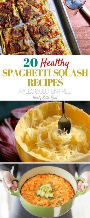 20 Healthy Spaghetti Squash Recipes (Paleo & Gluten Free)- If you've had spaghetti squash before you've probably roasted it and added some tomato sauce or pesto with some meatballs or chicken just like traditional spaghetti. But, did you know you can use spaghetti squash in lots of other ways like in soup, pizza, fritters, chow mein and more?