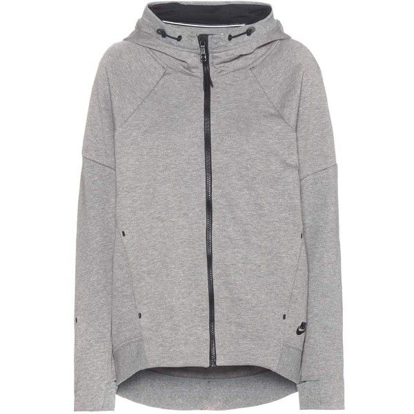 Nike Nike Tech Fleece Cotton-Blend Jacket (165 NZD) ❤ liked on Polyvore featuring outerwear, jackets, grey, gray fleece jacket, nike, fleece jacket, grey jacket and gray jacket