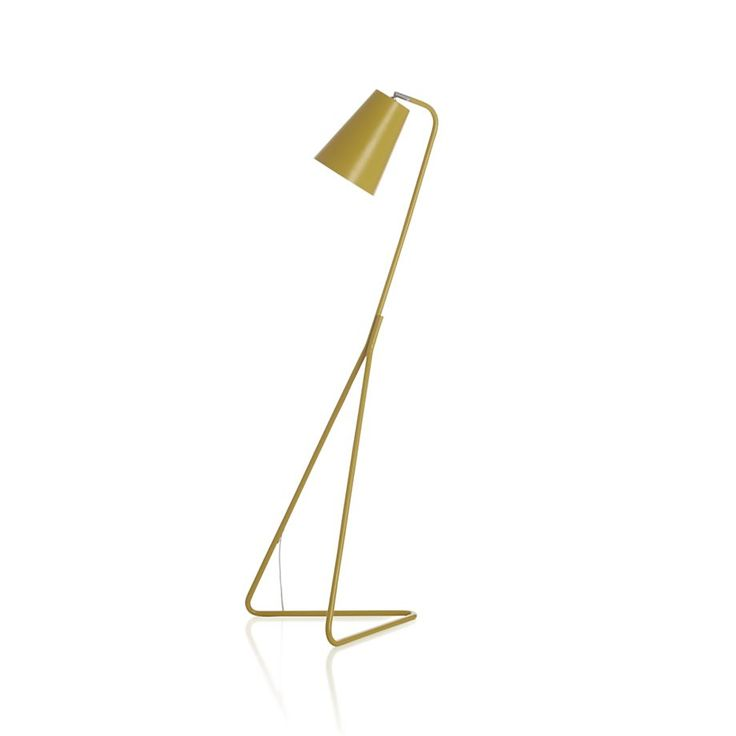 "Mick Yellow Floor Lamp | Crate and Barrel Mick Yellow Floor Lamp. 17"" dia. x 53""H Designed by Blake TovinSteel baseYellow finishCFL included (requires up to 13 CFL or 60W incandescent bulb)On/off foot switch70"" translucent cord"
